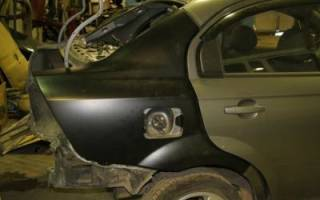 Замена заднего крыла автомобиля